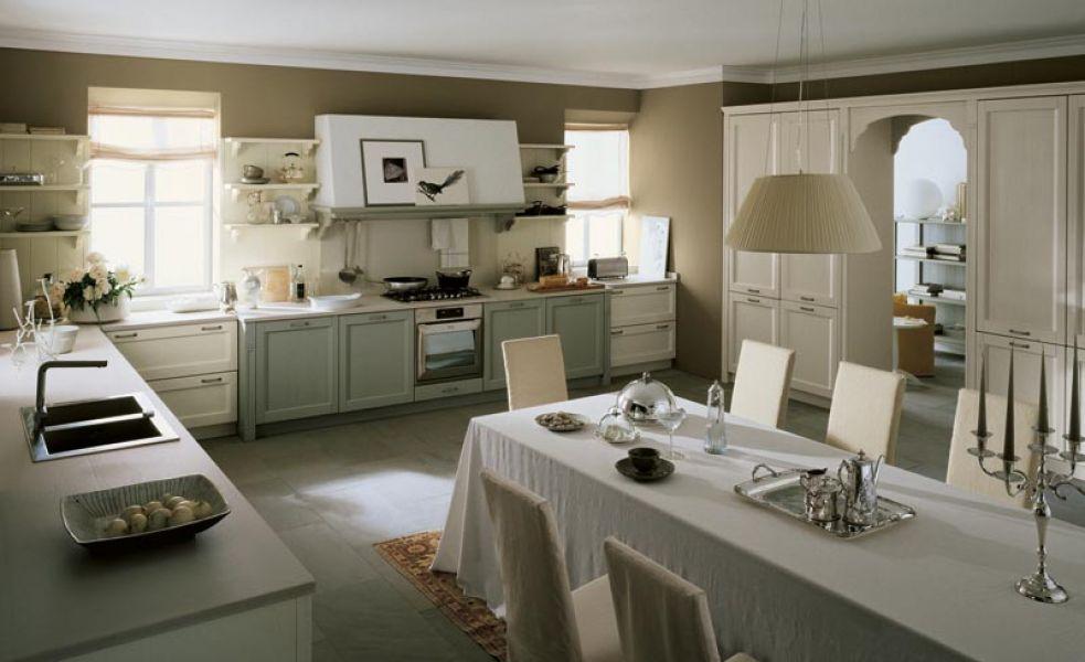 cucina classica con muri di colore beige scuro