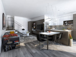 cucina open space: colore pareti
