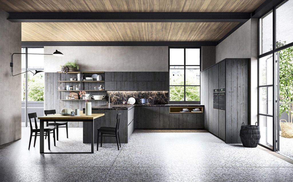 Cucina nera con muri grigi