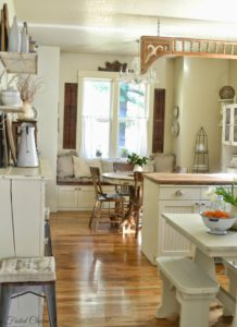 Cucina in legno e bianca shabby chic