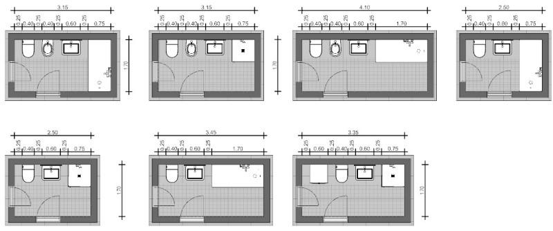 Progettare bagno lineare