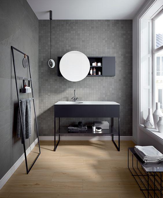 Come pitturare il bagno: il grigio scuro