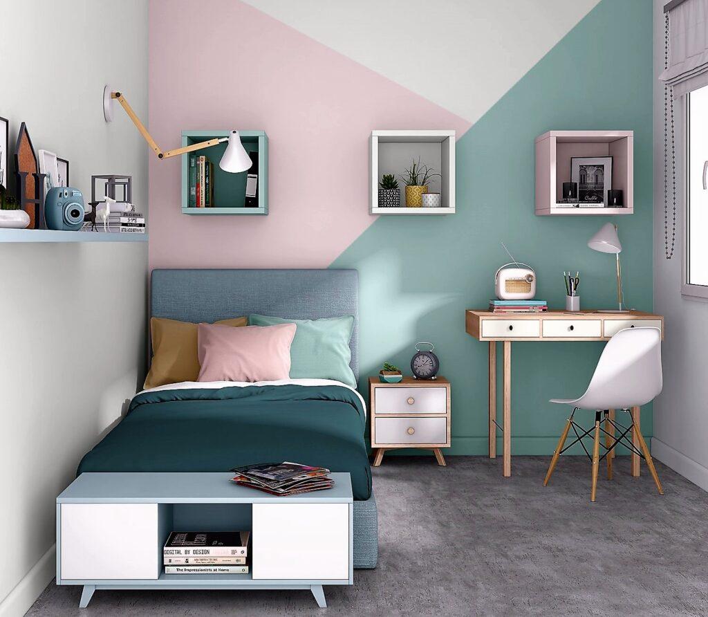 fantasia geometrica parete cameretta