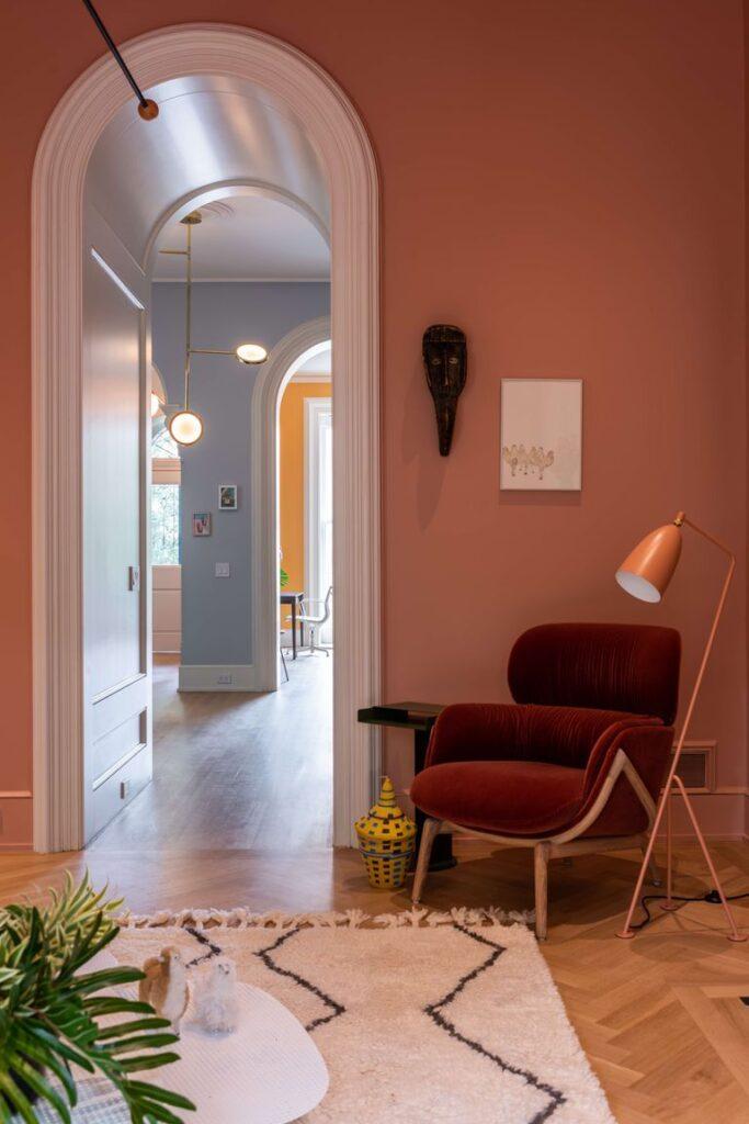 pareti colorate casa new york